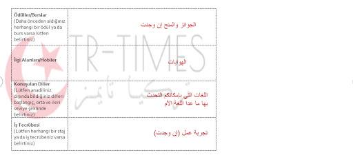 تعبئة فورم التسجيل على منحة تعلم اللغة التركية بالصور 3