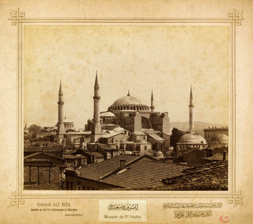 صورة قديمة لمسجد آيا صوفيا في مدينة إسطنبول